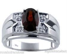 Mens Diamond Ring Garnet 14K White Gold Ring
