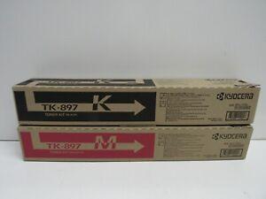 LOT OF 2! GENUINE KYOCERA TK-897K/TK-897M TONER KIT