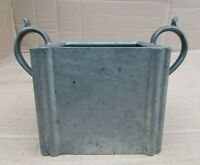 Antique 'Reliable' Hammered Pewter 2 Handle Square Container - Stamped Base -VGC