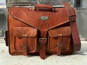 Leather Messenger Briefcase Laptop Shoulder Bag Satchel 18 Inch Men Waxed Rugge