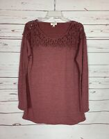 Umgee Boutique Women's M Medium Mauve Lace Long Sleeve Spring Shirt Tunic Top