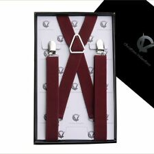 Boy's Braces Burgundy Deep Red Maroon X2.5cm Boys Suspenders Kids