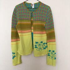 Oilily womens wear Medium yellow green pink stripe floral cardigan knit sweater