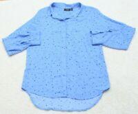 Apt. 9 Blue Dress Shirt Medium Womens Womans Button Up Polyester Long Sleeve Top