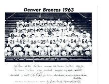 1963 DENVER BRONCOS TEAM 8X10  PHOTO AFL WAHOO MINGO COLORADO USA NFL FOOTBALL