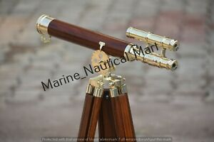 Nautical Floor Standing Brass And Wood Telescope With Wooden Tripod Stand 27 ""