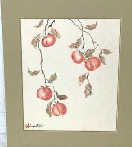 """CHIURA OBATA Original Water color - Persimmons """" Kaki"""""""