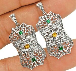 Emerald & Citrine 925 Solid Sterling Silver Victorian Style Earrings Jewelry VA1
