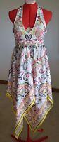 H&M Woman Dress Size 4 Halter Asymmetrical Summer Yellow White Black Pink