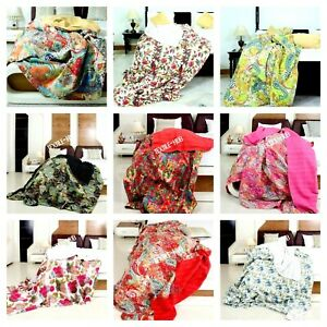 Indian Cotton Kantha Quilt Coverlet Blanket Twin Queen Floral Bedspread Bedding