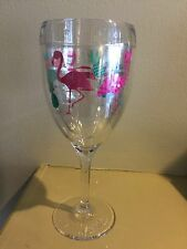 New Tervis Pink Flamingo and Pineapple  9 oz Stemmed Insulated Wine Glass
