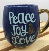 Threshold Coffee Tea Mug Cup  Peace Love & Joy, Blue with Gold Handle