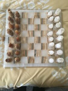 Hand Carved Brown and White Marble Chess Board Pieces Set
