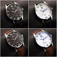 YAZOLE Men's Leisure Business Quartz Watch Waterproof Leather Band Wristwatch