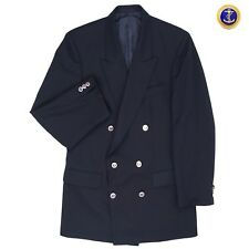 Burberrys London Navy Blue Double Breasted Nautical Blazer Made In England Sz 42