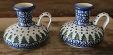 Blue Hand Painted Pottery Candle Holders Finger Loop Poland, Christmas Trees