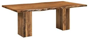 """Amish Rustic Live Edge Walnut Dining Table 42"""" x 84"""", 42"""" x 96"""" Solid Wood"""