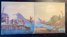 Pair Of 19th Century Montereau & Creil Italian Hand Painted Tiles (one Broken)