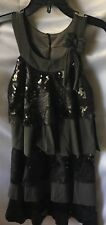 Isobella and Chloe Girls Black Sequins And Tiers Dress Size 5-New