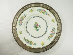 Minton Dinner Plate Bone China with Filigree Sterling Silver Border RoNo.654443