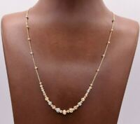 Graduated Beaded Ball Cable Chain Tricolor Necklace Real 14K Yellow Gold 18""
