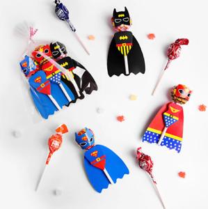 Super Hero Lollipop Party Favour. Kids Birthday Decoration x6