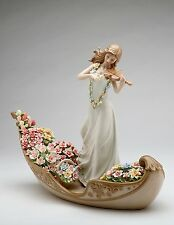 MULTI COLOR PORCELAIN FLOWERING INSPIRATION,GIRL,VIOLIN,KANU,FIGURINE 96643-NAIS