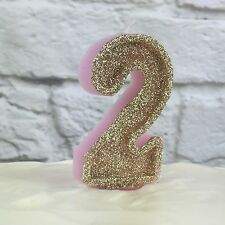 Pink And Gold glitter number 2 candle | 2nd Birthday | Cake Decorations | Party