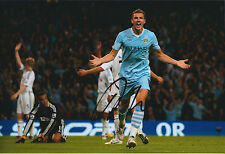Edin DZEKO SIGNED COA Autograph Photo AFTAL Man City Premier League 2014 Winner