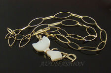 Womens Mother of Pearl Cat Pendant Necklace Crystal Animal Kitty Gold Plated P62