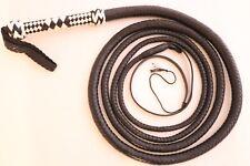Genuine Cow Leather 10 Feet Long 12 Plaited Bullwhip Dark Brown Heavy Duty Whip