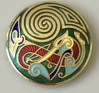 Vintage abstract  Brooch Pin enamel on gold tone metal