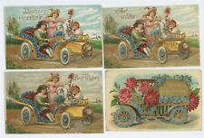 Lot of 4! Girls Greeting Old CARS Vintage Antique Automobiles Postcard