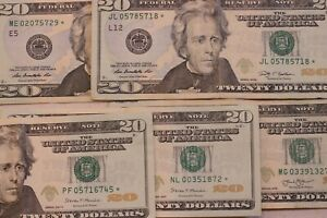 Rare $20 star notes!!!!  5 note lot