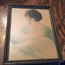 "Art painting wood Mother and Child WWI Era 7"" x 9"" Original Framing Ships Free!!"