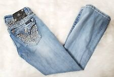 Miss Me Brand Sz 26 Jewel Embellished Lace Stretch Boot Cut Jeans Crystals