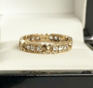 Ladies Vintage Antique 9ct Yellow Gold 0.50 Carat Spinel - Bow Eternity Ring