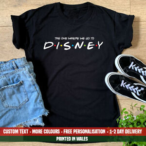 Ladies The One Where We Go To Disney Friends T-shirt Disneyland Announcement Top