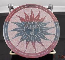 MULTI COLORED STONE DISC SUN SYMBOL ASH CATCHER 4INCHES ACROSS BRAND NEW[SA286]