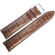 22mm RIOS SHORT Louisiana Brown Alligator-Grain Leather German Watch Band Strap