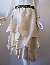 Hazel Anthropologie Light Tan A Line Ruffle Layers Tiered Polyester Skirt M