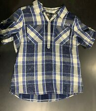 Womans Blue and White Plaid Harley Top