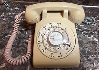 ITT Beige Tan Rotary Dial Desk Phone Retro Vintage 183499-101 Preowned