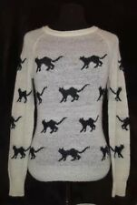 Wildfox White Label Women's Sweater Top Xs Cats White Black Rare Wool
