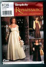 Simplicity 8735 Renaissance Costume Dress Gown Pattern Vintage 1999 Size 4 6 8