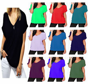 Womens T Shirt Ladies Oversized Baggy Turn Up Batwing Loose V Neck Plus Size Top
