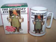 Norman Rockwell Coffee Mug Spirit of Christmas Saturday Evening Post Vtg 1986