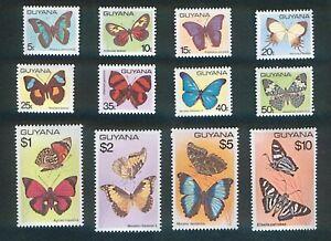 Guyana 1978 - 1980 Butterflies  Set of 12 values Mint Hinged