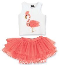 New FLAMINGO SKIRT SET Mud Pie Baby Girls Size 9-12 Months Birthday Party