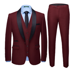 Mens 3PCS Business Slim Fit Soild Color Size Plus Stage Show Wedding Blazer Suit